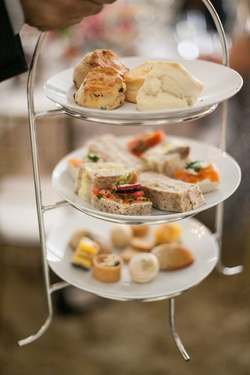 Bridal shower food three-tier tray for high tea service