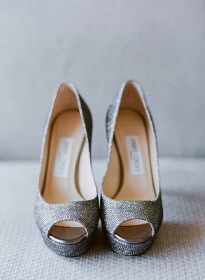 Jimmy Choo metallic silver peep toe platform pumps wedding shoes heels