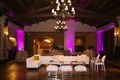 Wedding reception lounge area after party ideas white faux fur stools white sectional chairs purple