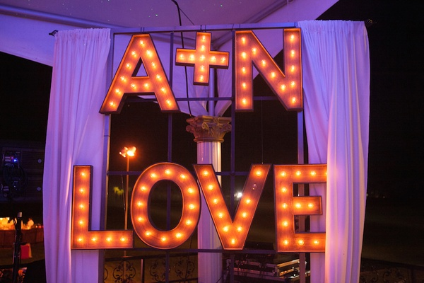 Initial and LOVE marquee lighting sign for wedding party
