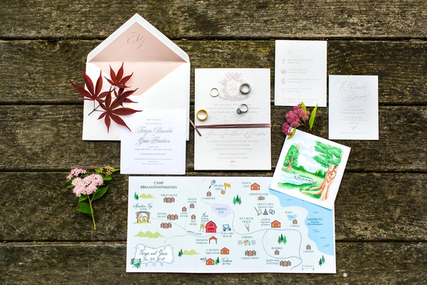 wedding invitation suite with custom ceremony program painting and map with activities for area