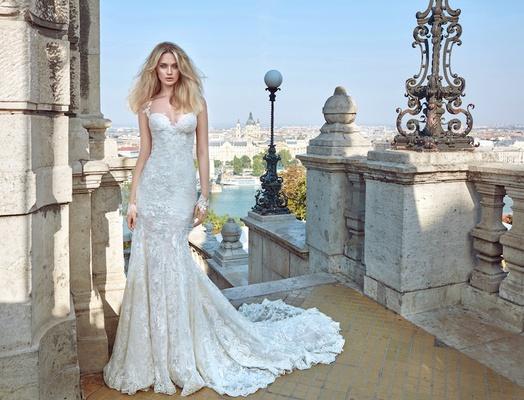 Galia Lahav Fall 2016 Low Back Lace Wedding Dress With Train