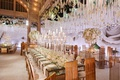wedding reception new york public library candelabra white fllowers gold chairs roses hanging
