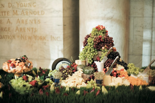 Cheese and grapes at New York Public Library