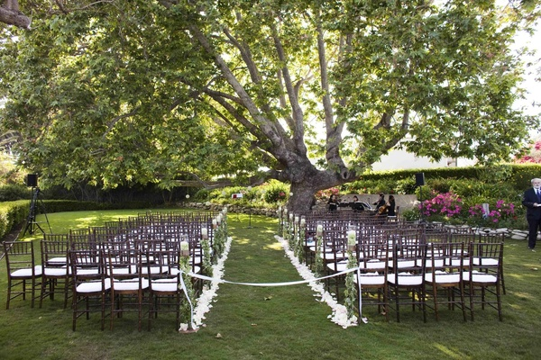 Petal-lined aisle with brown wooden chairs