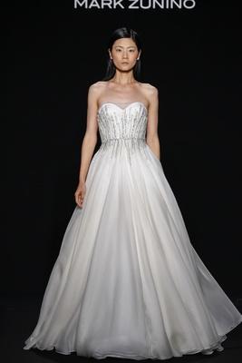Mark Zunino for Kleinfeld 2016 strapless a-line wedding dress with jewel waistband