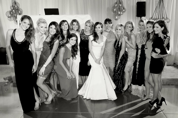 Black and white photo of The Bachelorette friends