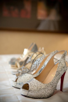 Four pairs of sparkling glitter wedding shoes