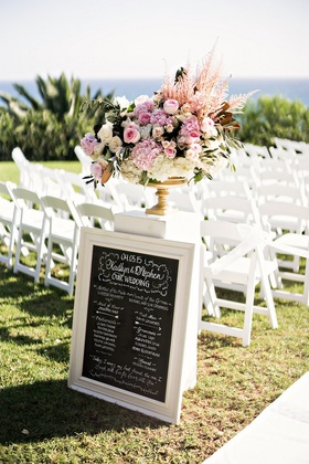 wedding party ceremony sign blackboard outdoor wedding pacific ocean program chalk