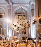wedding reception ballroom tall centerpiece white orchid hydrangea pink flower rose gold candles