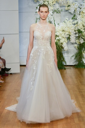 Monique Lhuillier Spring 2018 bridal collection Sage wedding dress tulle a line gown