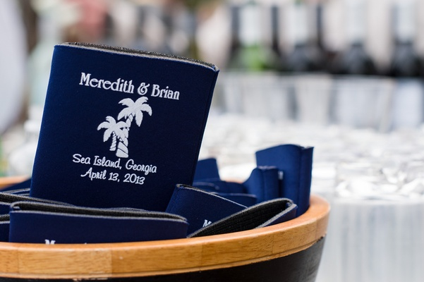 Blue beer koozie with name and wedding date