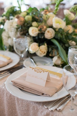 DeMarco Murray place setting at wedding reception sequin pink blush linens