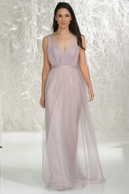 Wtoo Bridesmaids 2016  light purple v-neck long bridesmaid dress