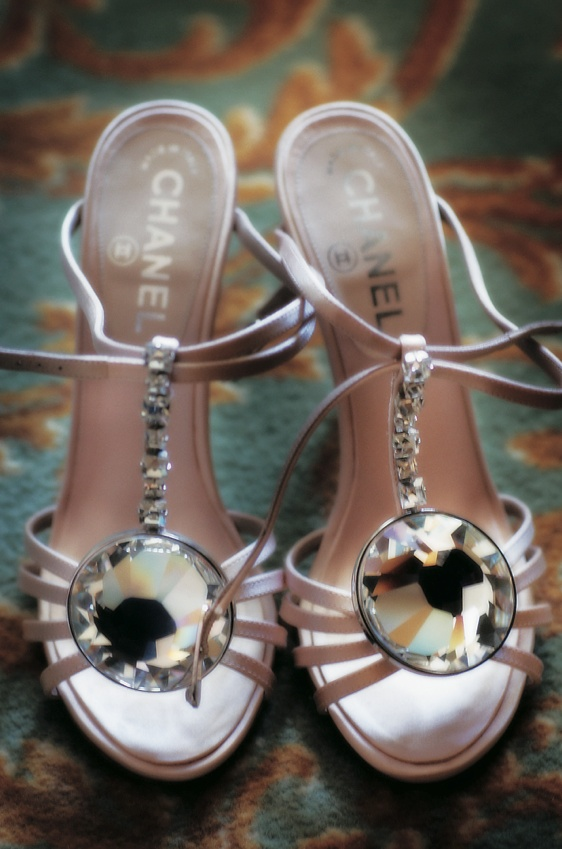 Pink strappy wedding heels with large jewel