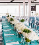detriot lions quarterback matthew stafford rehearsal dinner decor tiffany blue linens white flowers