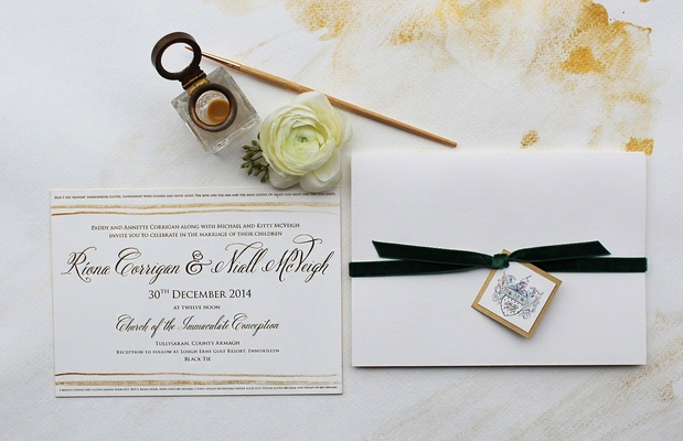 Neutral wedding invitation simple calligraphy with tan details and forest green velvet ribbon