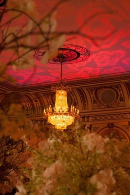 Rose pattern projection on the ceiling of The Grand Ballroom at The Plaza Hotel for a reception