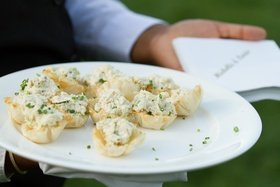 Phylo dough puff pastries with potato salad and chives