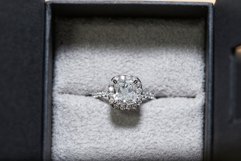Jewelry Photos - Square Halo Engagement Ring in Box - Inside Weddings
