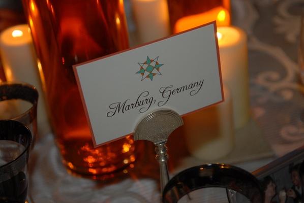 Wedding reception table card
