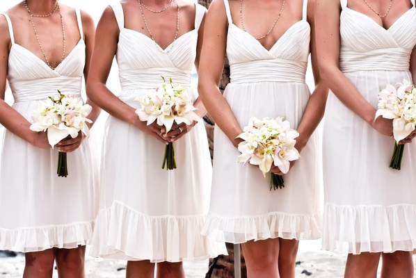 Short off-white bridesmaid dresses