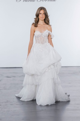 Pnina Tornai for Kleinfeld 2018 wedding dress ball gown strapless pick up skirt one strap corset