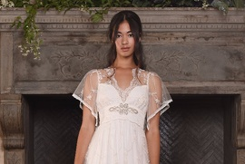 Claire Pettibone Four Seasons Couture Collection tulle empire bridal gown with illusion neckline