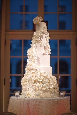 six-tier wedding cakes with cascading sugar flowers