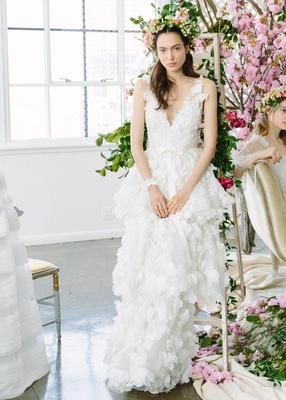 9243d6b1aff6 Marchesa Notte Bridal Spring/Summer 2018 gown deep V-neck ribbon belt  tiered skirt
