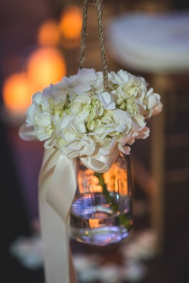 simple hanging glass mason jar white flowers pia toscano american idol jimmy ro smith wedding