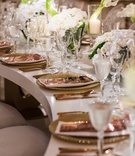 Wedding reception white serpentine s table gold charger rose gold copper flatware and menu white