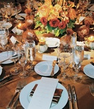 Fall inspired reception table with favors