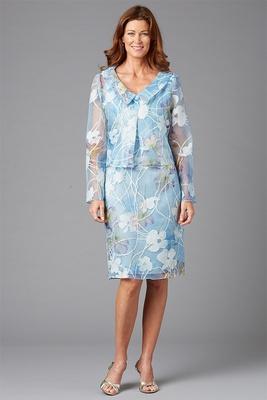 Siri Spring 2016 mother of the bride dress flower print light blue jacket with knee length skirt