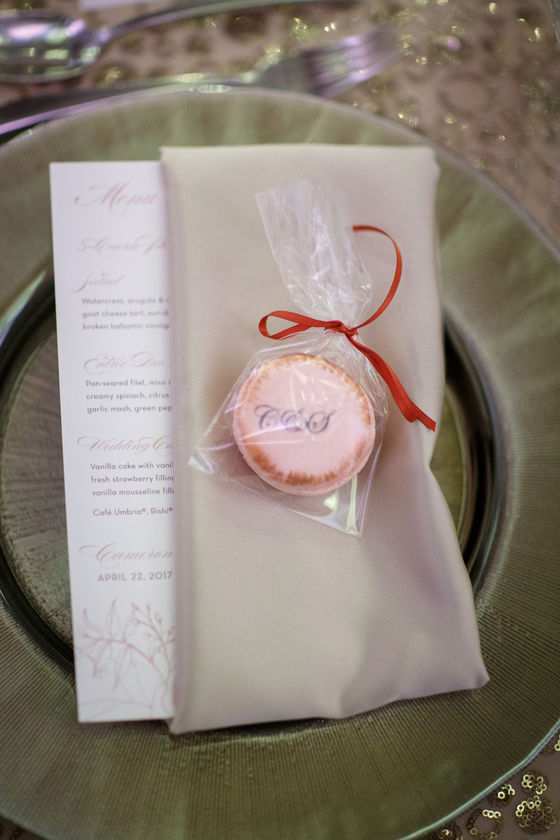 monogram macarons for weddings favors