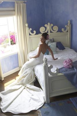 Woman wearing Elizabeth Fillmore wedding dress
