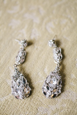 Crusted crystal and diamond teardrop bridal earrings