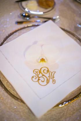 white reception napkin monogram in gold couple orchid pittsburg catholic wedding