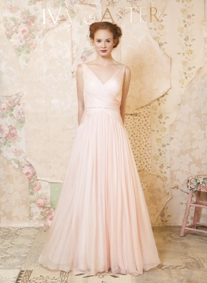 Pink wedding dresses for a non traditional bride inside weddings ivy and aster wedding dress with straps in blush junglespirit Images