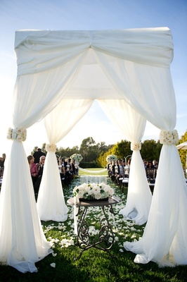 Four pillar ceremony canopy on grass lawn of resort