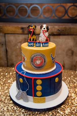 Two layer wedding cake with dog topper