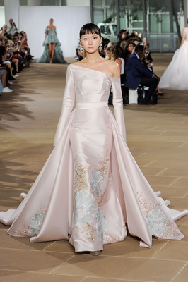 Ines Di Santo fall 2019 bridal collection wedding dress Dove hand-painted trumpet gown blush silk