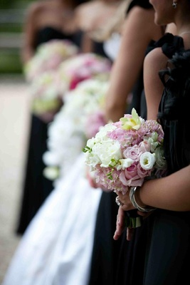 Bridesmaid's bouquet of white and light green and pink flowers
