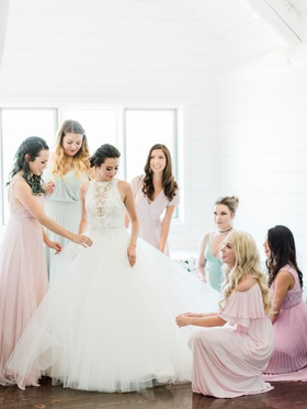 Megan Nicole Youtube singer on wedding day maggie sottero wedding dress bridesmaids helping