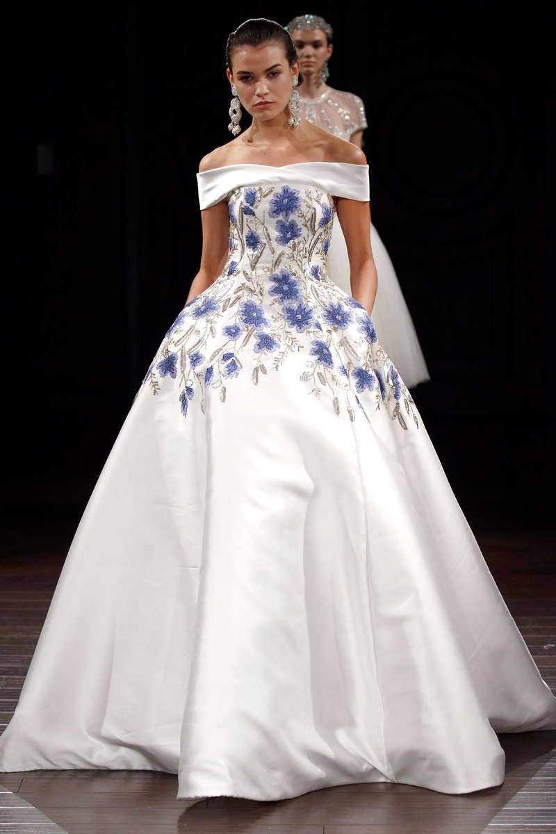 Wedding dresses bridal gowns with flower prints from spring 2017 naeem khan off the shoulder ball gown with blue flower print and silver embroidery pockets ball ombrellifo Image collections