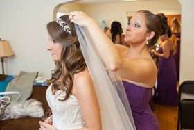Bride with sparkling headband and long bridal veil