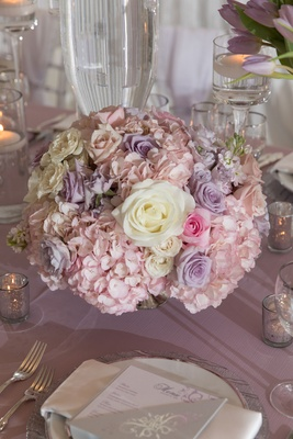 Wedding centerpiece purple flower pink rose white rose pink hydrangea spring wedding ideas