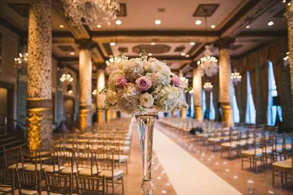 wedding ceremony flower arrangement pink rose white rose white hydrangea the drake hotel
