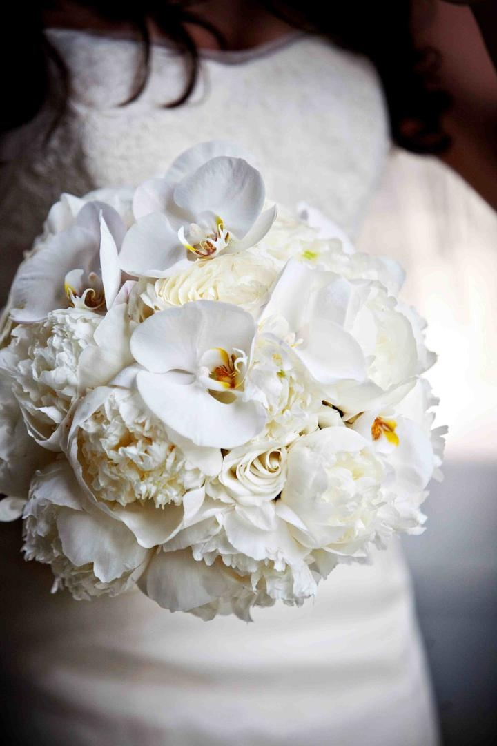 white rose orchid and peony wedding bouquet