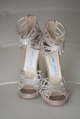 Jimmy Choo bridal shoes with peep toe and ankle strap
